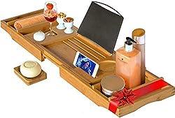 Perfect Plated kylpyammehylly, kylpyamme matto samppanjapidikkeellä, kylpyamme tarjotin vaalealla bambusta XL (max. 105cm x 22cm)