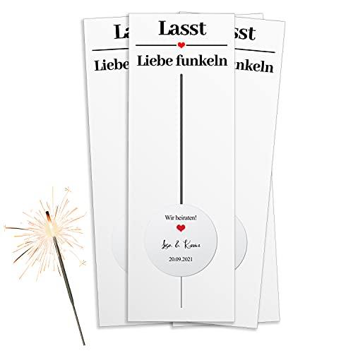 20 bengalas con tarjetas, incluye pegatinas personalizadas para la boda, regalo de...