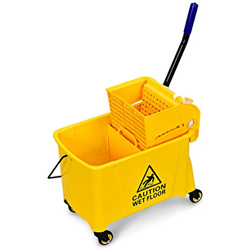 GOPLUS Commercial Mop Bucket with Wringer, Household Portable Mop Bucket, Ideal for Household and Public Places Floor, 21 Quart Capacity, Yellow