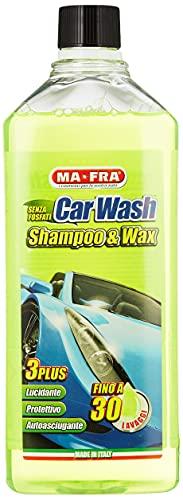 Ma-Fra MAH0930 Carwash Shampoo e Cera per Auto, 1L Volume, Giallo Fluo