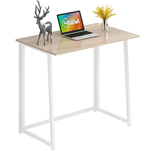 """4NM 31.5"""" Small Desk No-Assembly Folding Computer Desk Home Office Desk Study Writing Table for Small Space Offices - Natural and White"""