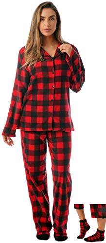 #FollowMe Printed Microfleece Button Front PJ Pant Set with Socks 6370-10195-XL