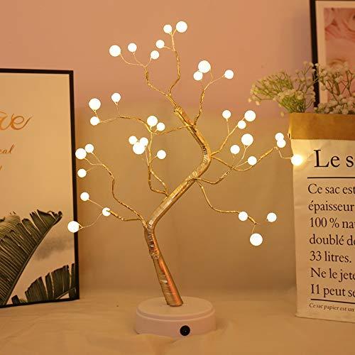 LED Baum Lichter Warmweiß USB Bonsai Baum Licht Verstellbare Äste Batteriebetrieben Dekobaum Belichtet Kleine Baumbeleuchtung Innen Deko (36 Lampenperlen)
