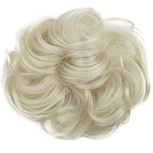 PRETTYSHOP Scrunchy Bun Up Do Hair piece Hair Ribbon Ponytail Extensions Wavy Messy platinum blonde # 613 G16A