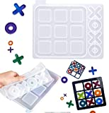 Tic Tac Toe Silicone Mold X O Board Games, Silicone Epoxy Resin Casting Mold Kit Coffee Top Table Games Decor Family Games Night Classic Board Game for Kids Friends Adults (Big)