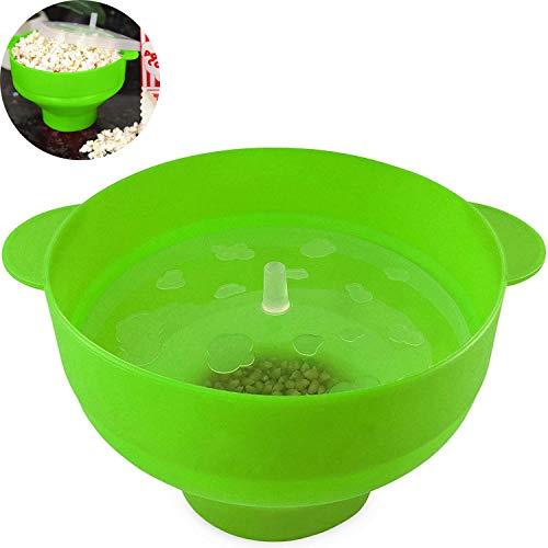 Silikon-Bowl-Mikrowellen-Popcorn Popper zusammenklappbarer Popcorn Maker Toxin einfach zu bedienen und zusammenklappbare platzsparendes Design BPA-frei und Spülmaschinenfest,Grün