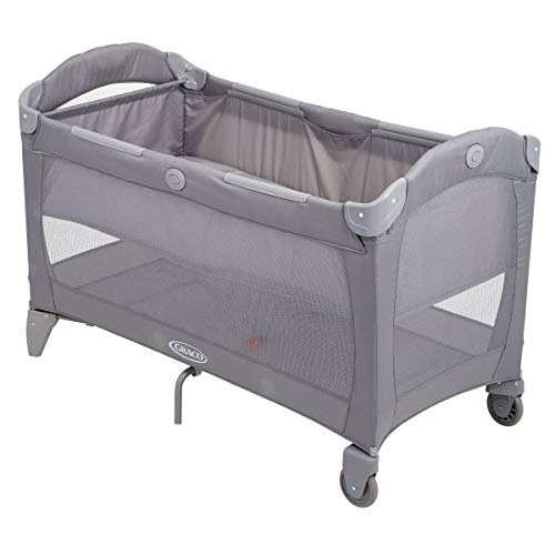 Graco Roll A Bed Children's Travel Bed, Baby Travel Cot, Birth up to 15 kg, Also as a Playpen, Removable Booster for Babies, Flexible Wheels, Transport Bag with Carry Handle, Padded Edges, Paloma