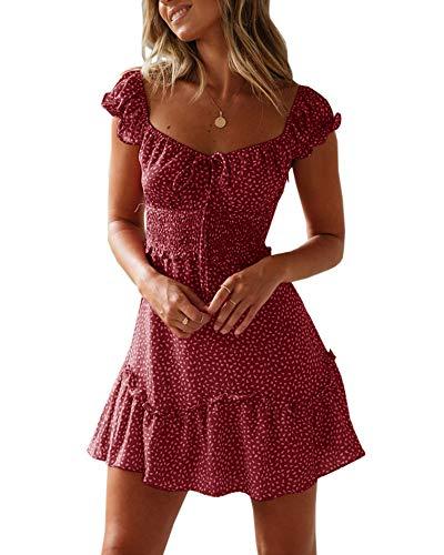 Ybenlover Damen Blumen Sommerkleid High Waist Volant Kleid Vintage Minikleid Strandkleid, Weinrot, M