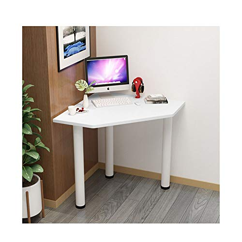 QULONG Triangular Solid Wood Corner Table, Multifunctional Wall Shelf in Bedroom, Portable Corner Table, PC Workstation, 29.9X29.X9x29.1In,white