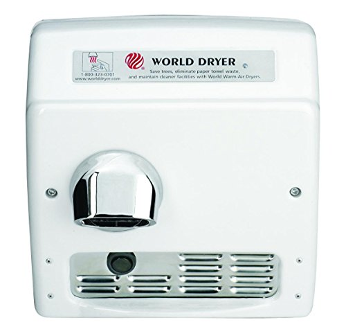 World Dryer DA5-974AU Model A Durable Standard Hand Dryer Push Button Finish: Steel White, Voltage: 110-120 V, 20 Amps
