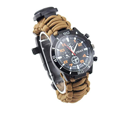 Chowcencen Multifunctional Hiking Outdoor Survival Watch Thermometer Compass Whistle Rescue Rope Camping Bracelet