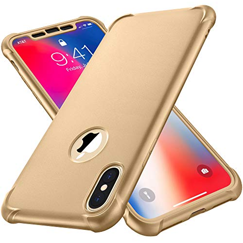 ORETECH Designed for iPhone X Case, iPhone Xs Case, with[2 x Tempered Glass Screen Protector] 360° Full Body Shockproof Cover Ultra Thin Hard PC Soft Rubber Silicone Case for iPhone X/XS- Gold