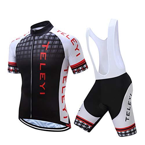 Ycling Jersey Fit Gel Gepolsterte Bib Shorts Radfahren Combo Set MTB Bike-Bekleidung Sportswear Anzug Radfahren,A,XXL