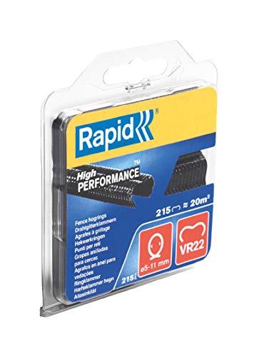 Rapid, 40108804, Agrafes de grillage galvanisées noires, VR22, 5-11mm, 215 pièces, Haute performance