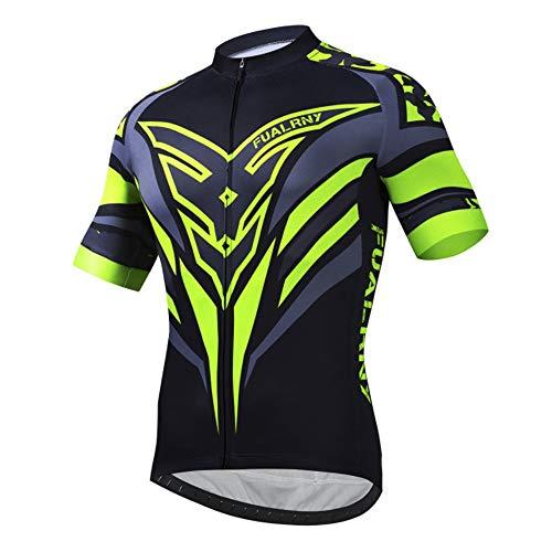 d.Stil Radtrikot Herren Fahrradtrikot Kurzarm Fahrradbekleidung T Shirt für Männer, Atmungsaktive Cycling Jersey Schnell Trocknen Radsport Bekleidung M-3XL (Grün-1, 2XL)
