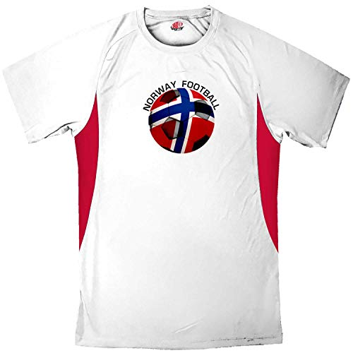 Custom Norway Soccer Ball 2 Jersey Adult 3X-Large in White and Scarlet