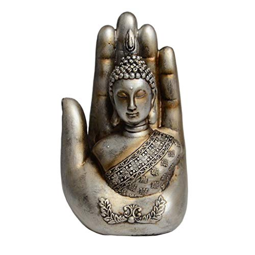 Thai Decor Palm Buddha Beautiful Handcrafted Antique Blessing Palm Buddha Idol Statue Decorative Showpiece (Silver)
