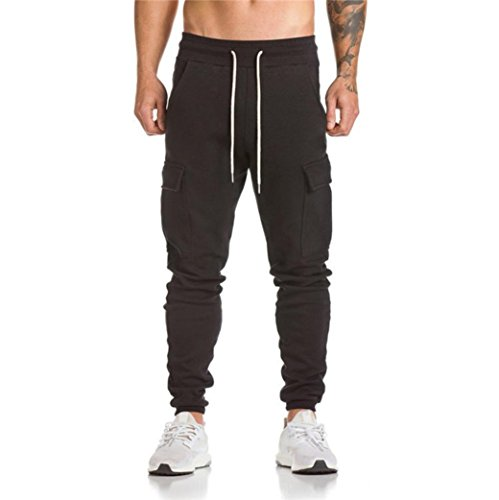 Bekleidung AMUSTER Herren Jogginghose Sweatpants Trainingshose Joggerhose Sporthose Trainingshose Jogger Fitness Sport Sportanzug Laufhose Sportpants Hose (M, Schwarz)