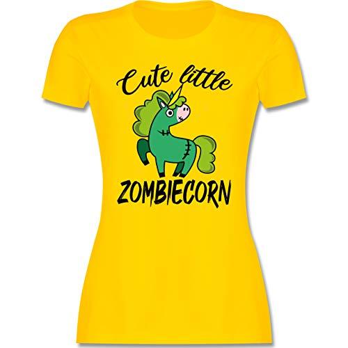 Halloween - Cute Little Zombiecorn - schwarz - M - Gelb - Zombies - L191 - Tailliertes Tshirt für Damen und Frauen T-Shirt