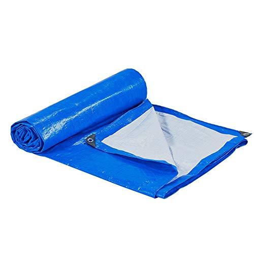 WTTO Bâche de Protection Heavy Duty, Industrielle Épais Imperméable Couverture Étanche avec Oeillets Bords Renforcés Coins Renforcés Extérieur Couverture de Camping au Sol,Blue/White_15x21ft/5x7m