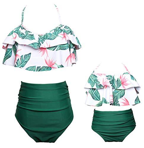 Vawal Kleinkind Baby Mädchen Bikini Badeanzug Set Mutter Tochter Sexy Familie Badebekleidung Strandkleidung (M, Grün)