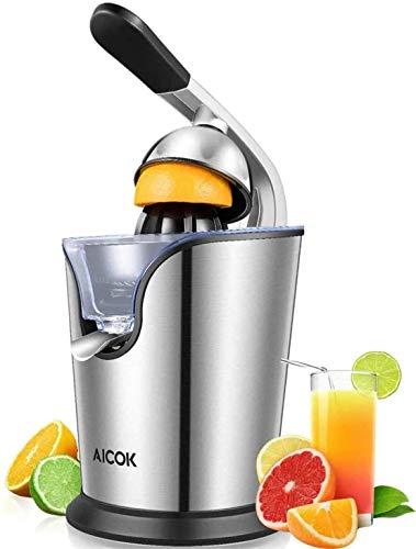 AICOK Exprimidor Eléctrico, 160W Exprimidor Naranjas Eléctrico de Acero Inoxidable con Brazo Articulado, Sistema Silencioso y 2 Conos Intercambiables, Antigoteo y Pies Antideslizantes, Plata