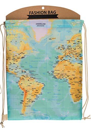 MC Trend Fashion Beutel mit Kordelbandträger Design Weltkarte Rucksack umweltfreundliche Tasche