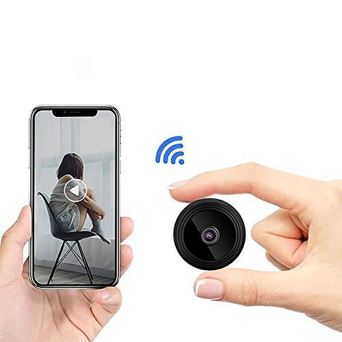 YouthRM Mini Cámara Oculta Inalámbrica WiFi Webcam 1080P Full HD IR Visión Nocturna DVR Videocámara Sensor de Movimiento Vigilancia de Seguridad para Bebés y Mascotas,Black