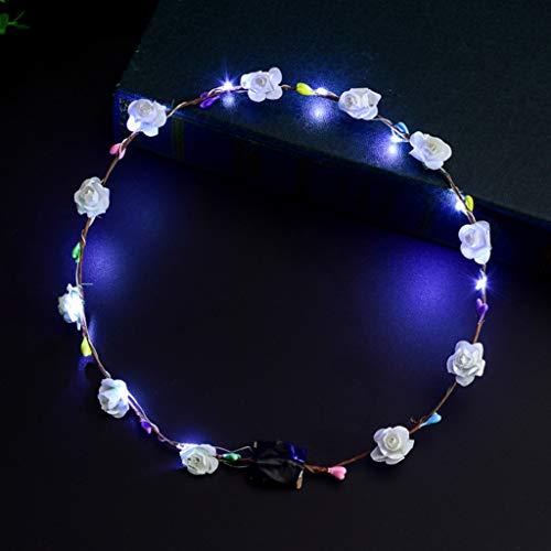 MINGSTORE - Diadema de Flores con luz LED para Mujeres y niñas