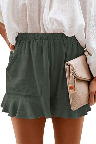 FANGJIN Womens Stretch Shorts Casual Loose fit Lightweight Summer Outfits for Women Elastic Waist Thigh Pocket Flowy Pants Linen Petite Pants Sage Green S