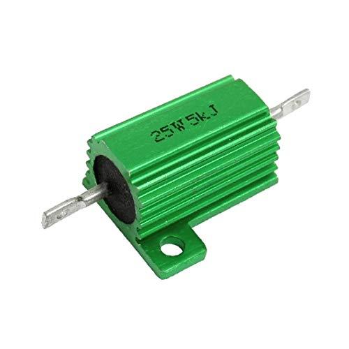 X-DREE 25W 전력 5K 옴 5% 차시스 마운트 그린 알루미늄 클래드 저항기(RESISTENZA PLACCATA IN ALLUMINIO VERDE DA 25W 전력 5K 옴 5%