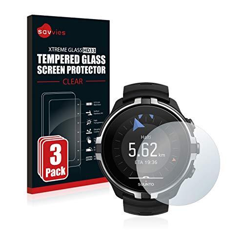 savvies Cristal Templado Compatible con Suunto Spartan Sport Wrist HR Baro Stealth (3 Unidades) Protector Pantalla Vidrio Proteccion 9H Pelicula