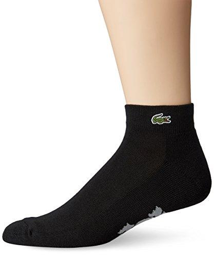 Lacoste Men's Sport Quarter Ped Sock, Black/Silver Chine, Sock Size: 6-12/Shoe Size:9-11