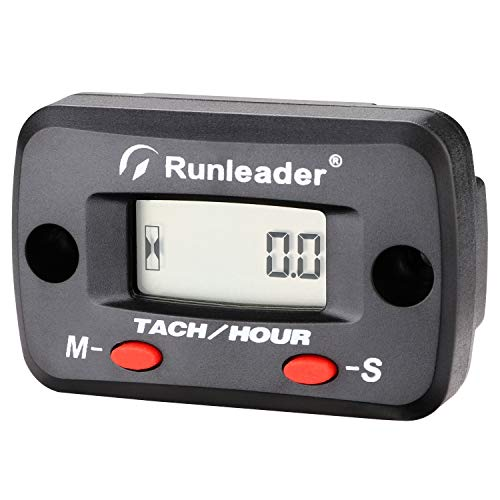 Self Powered Digital Tach Hour Meter Engine Maintenance Tachometer Max RPM Recall for 2/4 Stroke Gas Engines ATV Motorcycle Marine Chainsaw Tractors Lawnmower