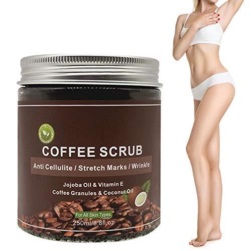 250 ml Kaffee Peeling, natürliches Körperpeeling Hautpeeling für Gesicht, Hand und Körper reinigt die Poren für eine glattere und weichere Haut für Frauen und...