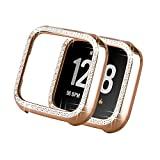 Yolovie Compatible with Fitbit Versa Lite Case, Bling Crystal Rhinestone Bumper PC Protective Face Cover Women Girl Shiny Diamond Plated Cases for Versa Smart Watch (VersaLite Pink)