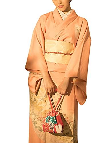 Traje de kimono japonés tradicional para mujer - Traje de geisha tradicional con estampado floral de grúa rosa Traje de vestido de Yukata Lolita