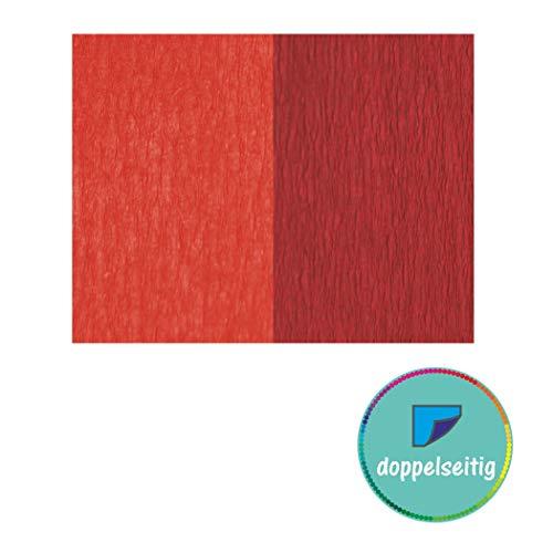 Doppelseitiges Krepppapier rot - dunkelrot 2 Stück 25 x 125 cm Krepppapier zum basteln