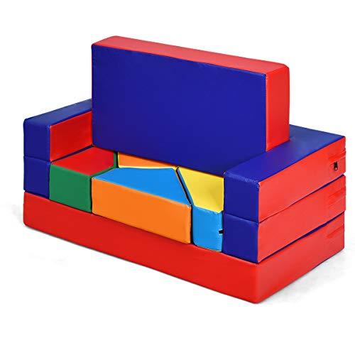 GOPLUS Spielsofa mit Bettfunktion, 4-In-1 Kindersofa aus Schaumstoff, Multifunktionaler Spieltisch mit Puzzle Sofa, Faltbarer Kindersessel mit 4 Bausteinen, Pädagogisches Spielzeug