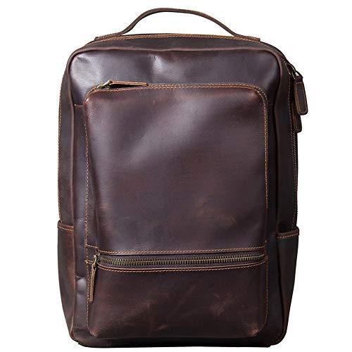 Leather Wallet Laptop Backpack Vintage Leather Business Shoulder Bag 14 Inch School Backpack Travel School Backpack Suitcases Unisex for Men Backpack