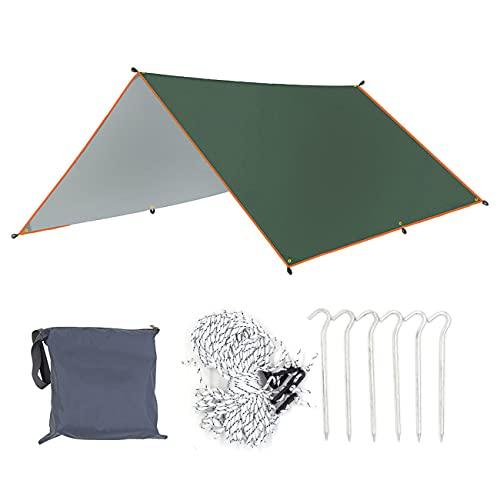ZJM Camping Hamgock Tarp, Camping Tarp Lluvia Fly Tent Tent Impermeable Durable Rainfly Shelter, Anti-UV Sombrilla Portátil Playa Playa Sol Shelter para Acampar, Senderismo,3×3m
