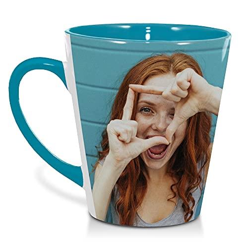 Tazas café. Taza Personalizada con Foto. Tazas Desayuno Originales. Regalos Personalizados con Foto. Taza cónica Azul Claro