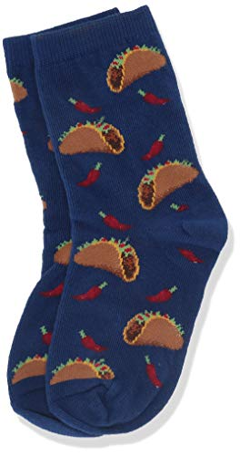 Hot Sox Boys' Big Food Novelty Casual Crew Socks, Tacos (Dark Blue), Medium/Large Youth