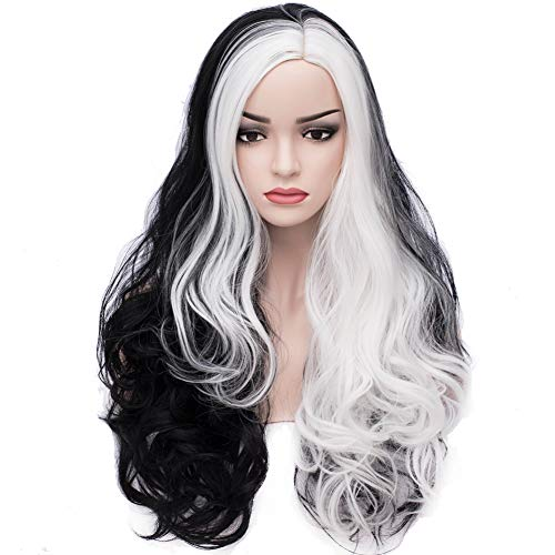 BERON Black White Two Tone Wig Long Curly Wig Women Girls Charming Full Wig Long Wavy Wig Black White Split Wig for Cosplay Party Wig Cap Included
