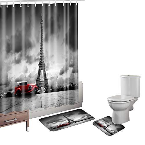 Bearbae Juego de 15 alfombrillas de baño, diseño retro de la Torre Eiffel de París en blanco y negro, 12 ganchos