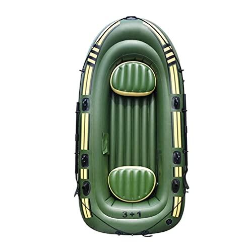 LANGTAOSHA Bote Inflable para 4 Personas, Balsa De PVC Barco De Pesca Inflable para Kayak con 2 Remos, 2 Cojines, Cuerda, Parche De Reparación Y Bomba Manual, para Buceo A La Deriva