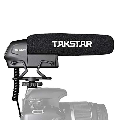 TAKSTAR SGC-600 On-Camera Condenser Interview Microphone 3.5mm Plug with Windscreen Cold Shoe Mount Compatible with Canon Nikon Sony DSLR Cameras Camcorders