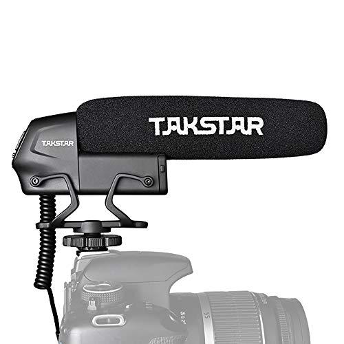 TAKSTAR SGC-600 Condensador en Cámara Entrevista Micrófono Micrófono Supercardioide Control de Ganancia de 3 Niveles Interruptor de Corte Bajo Enchufe de 3,5 mm con Parabrisas Montaje en Zapata Fría