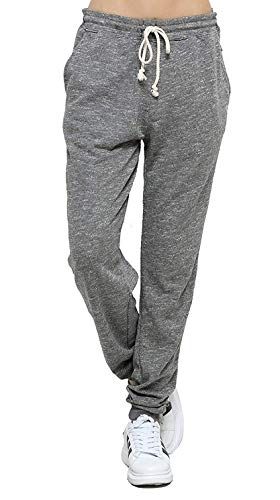 Jogging Femme Coton Sport Pantalon Gris en Maille Coton avec Cordon de Serrage Taille Haute Elastique (Gris, XL)