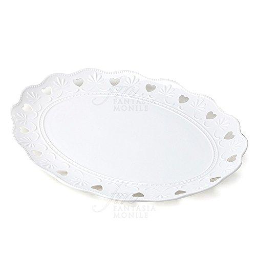 Hervit tafelloper ovaal porselein wit Decoro hart geschenk bruiloft 26341